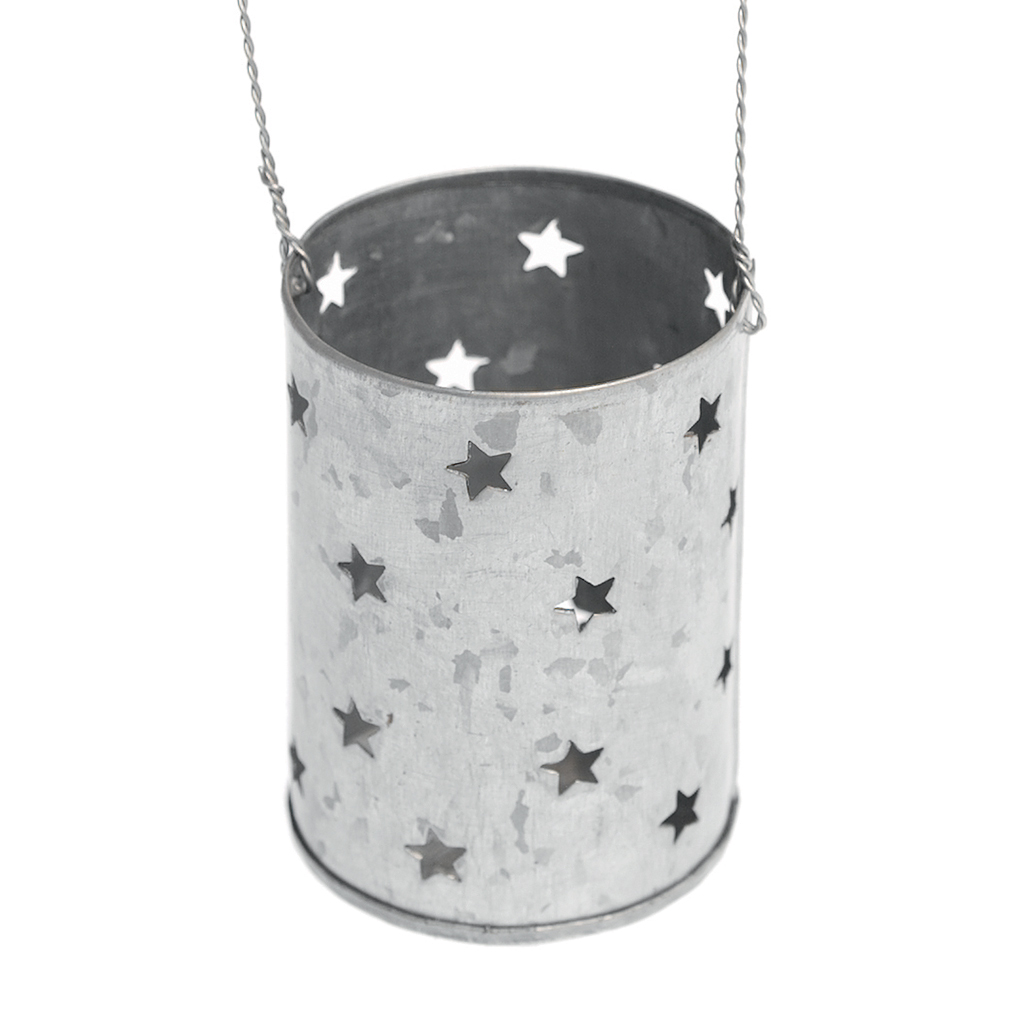 Dotcomgiftshop hanging zinc tea light candle holder stars for Decoration zinc