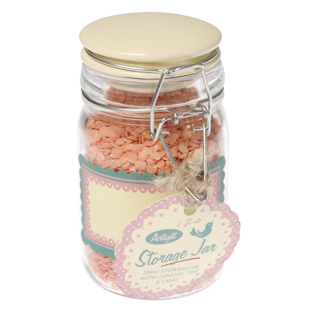 Cream Kitchen Storage Jars: Medium Retro Kitchen Ceramic Top Storage Jar