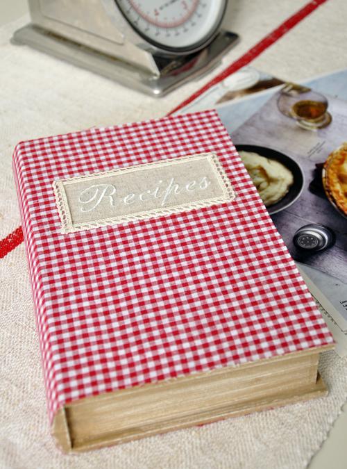 Checkered Cover Cookbook : Gingham recipe book storage box rex london dotcomgiftshop