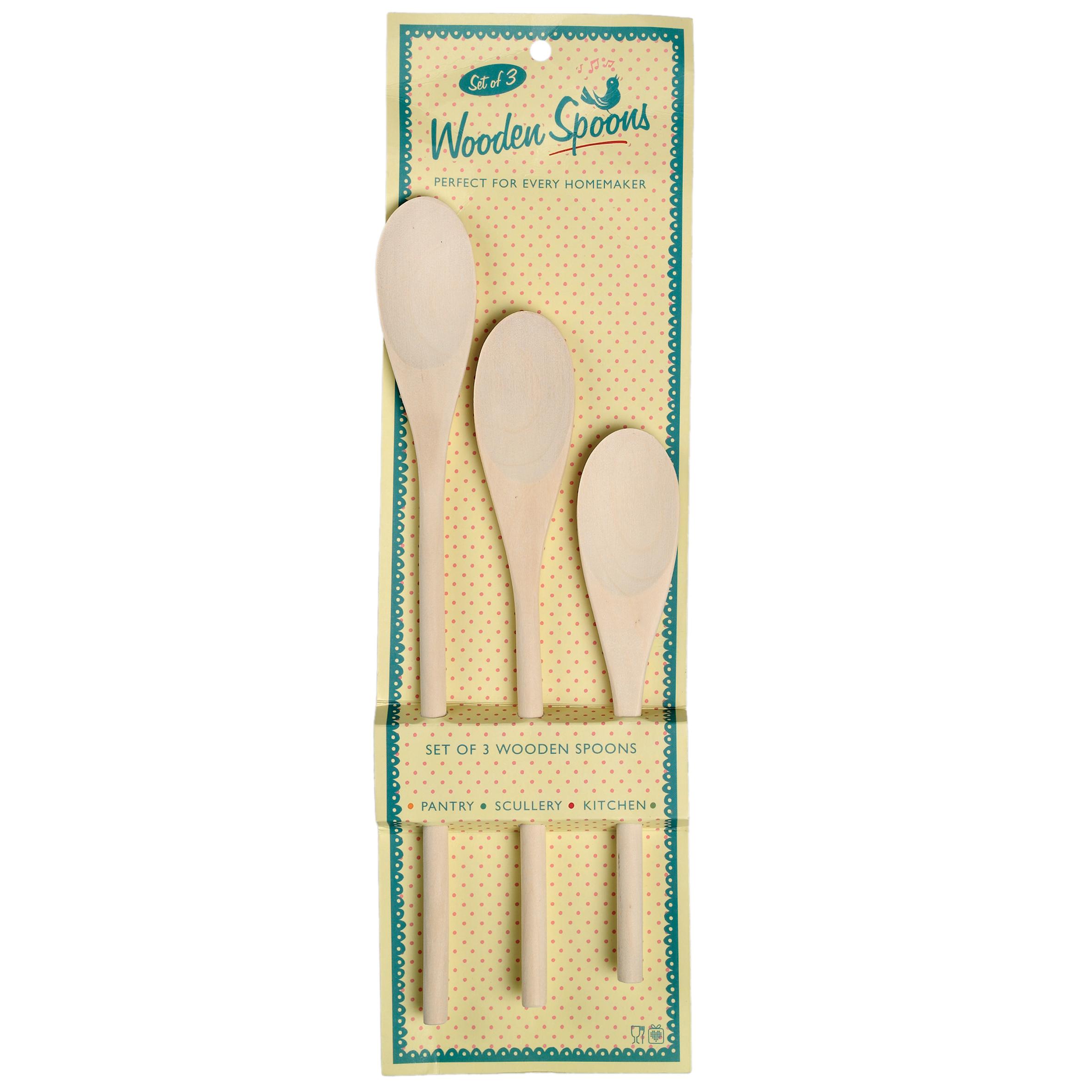Dotcomgiftshop Set Of 3 Retro Kitchen Wooden Spoons Ebay