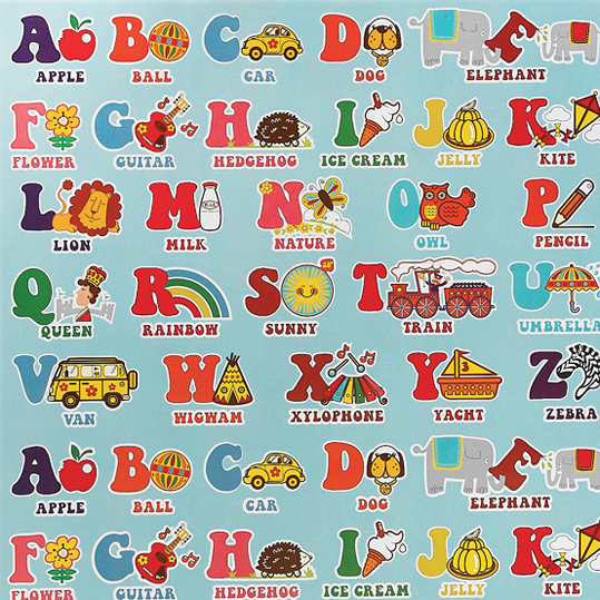 Alphabet Poster Wrapping Paper (5 Sheets)   dotcomgiftshop