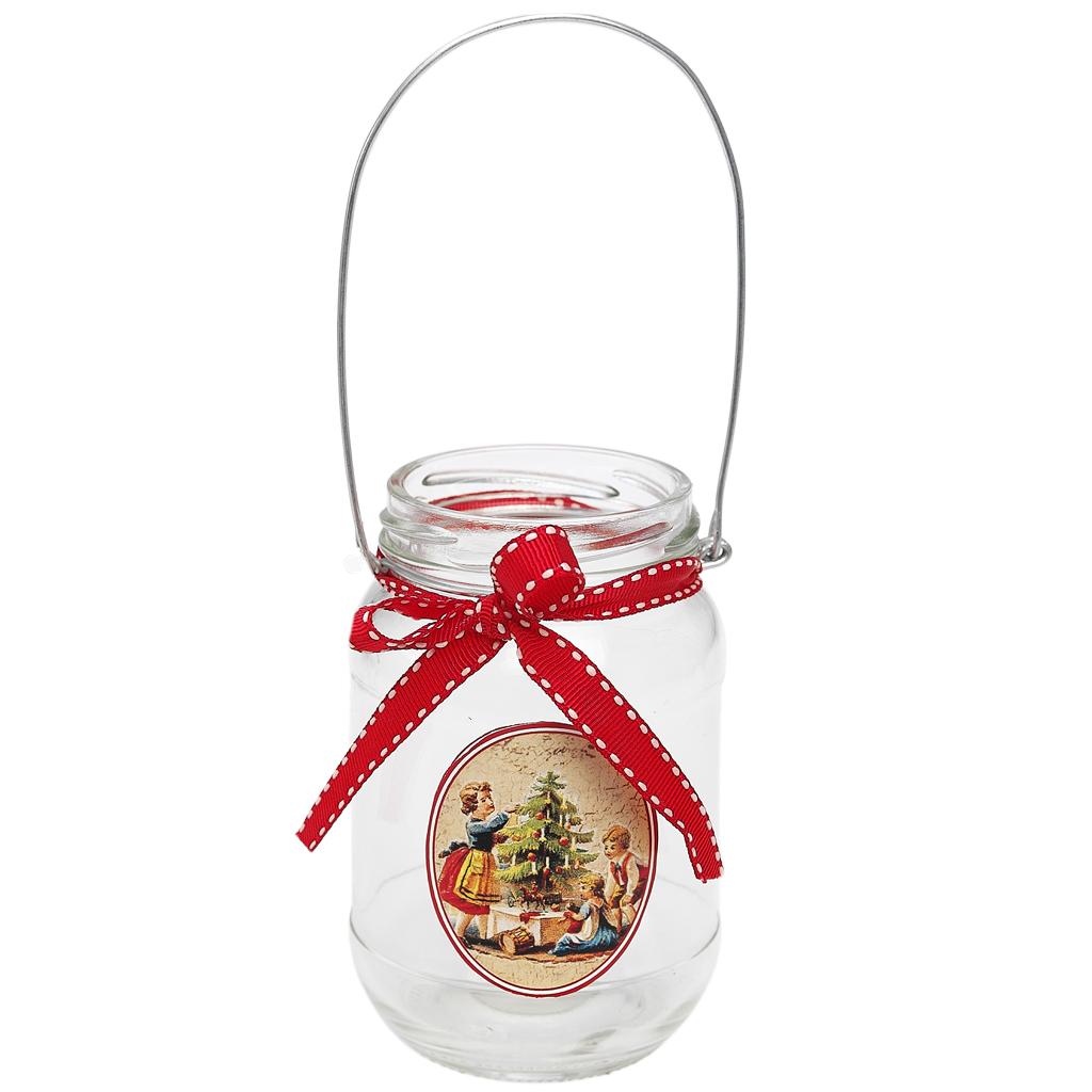Dotcomgiftshop Christmas Jar Tea Light Holder Vintage