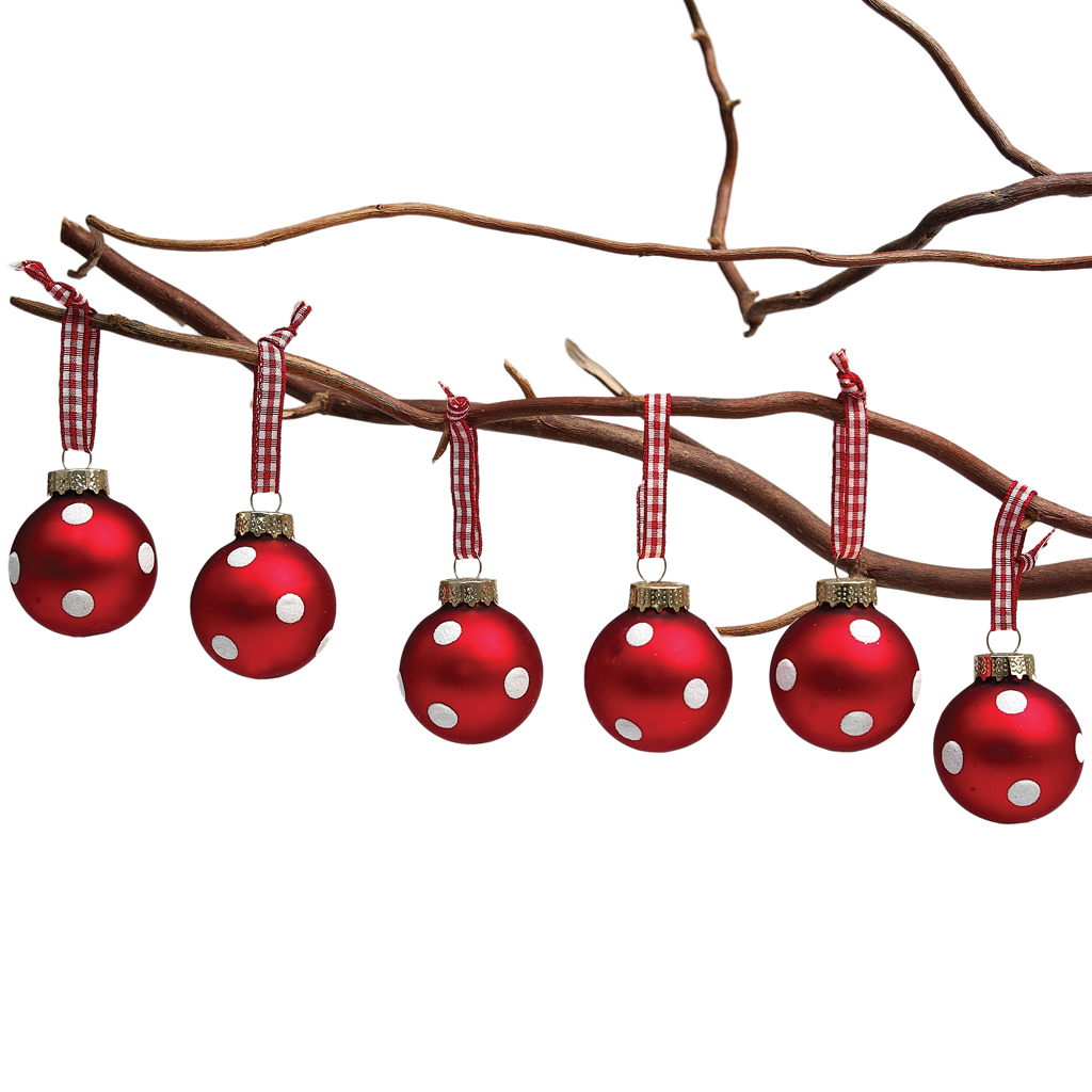 SET 6 MINI RED GLASS BAUBLES VINTAGE CHRISTMAS HANGING DECORATION
