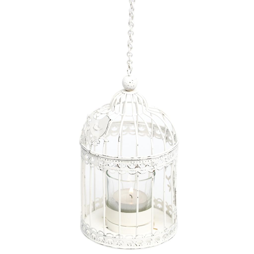 Dotcomgiftshop Pavillion Birdcage Hanging White Tea Light