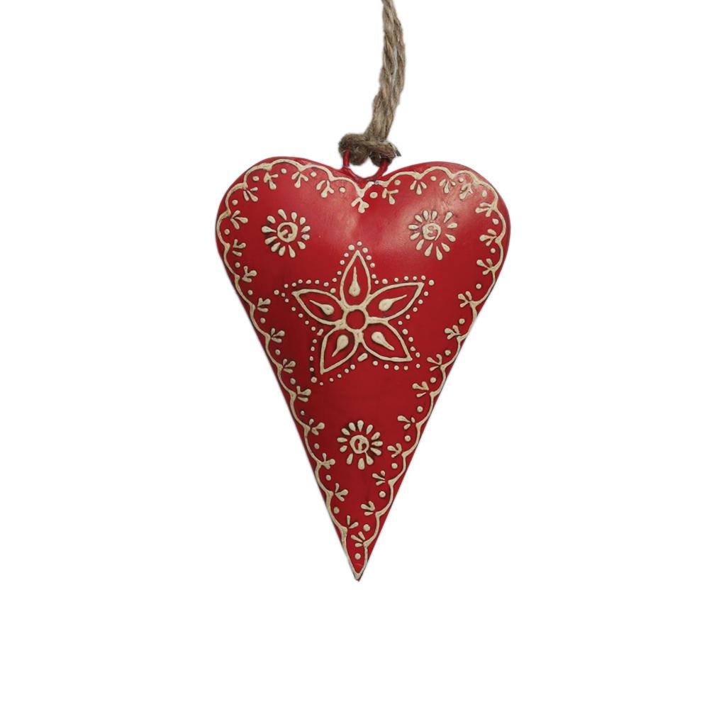 Petit d coration coeur avec fleur rouge rex london - Decoration coeur rouge ...