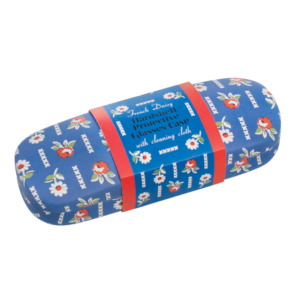 FRENCH DAISY DESIGN BLUE HARDSHELL GLASSES CASE & CLEANING CLOTH