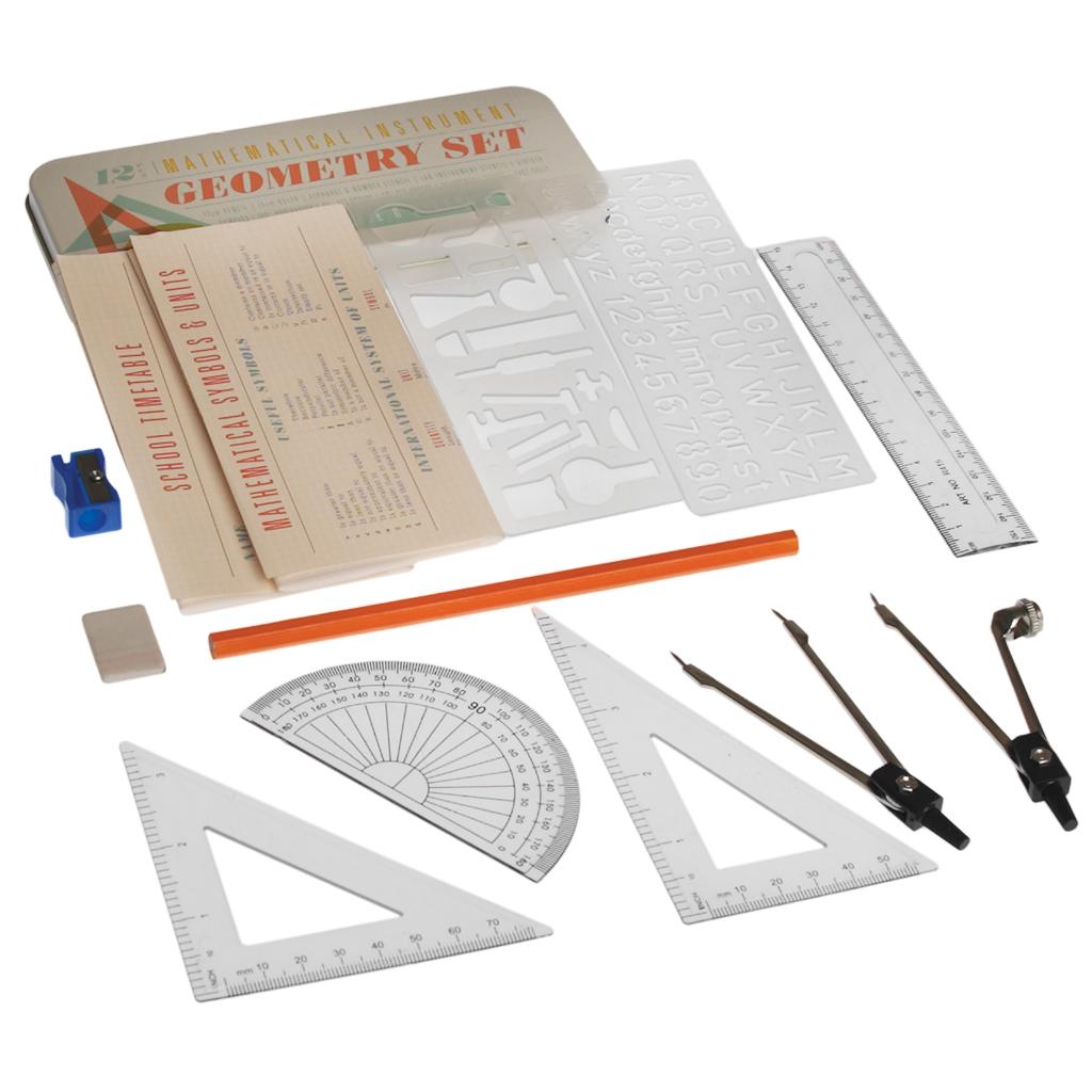 12 Piece Mathematical Instrument Geometry Set In A Tin Rex London