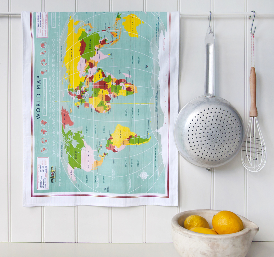 World map cotton tea towel in gift box rex london dotcomgiftshop world map cotton tea towel in gift box gumiabroncs Images