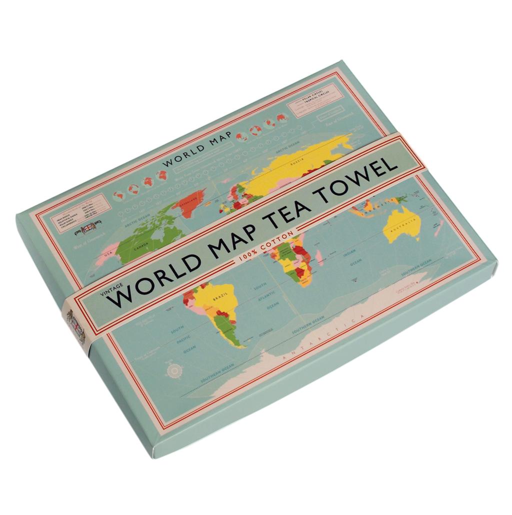 World map cotton tea towel in gift box rex london at dotcomgiftshop world map cotton tea towel in gift box gumiabroncs Choice Image