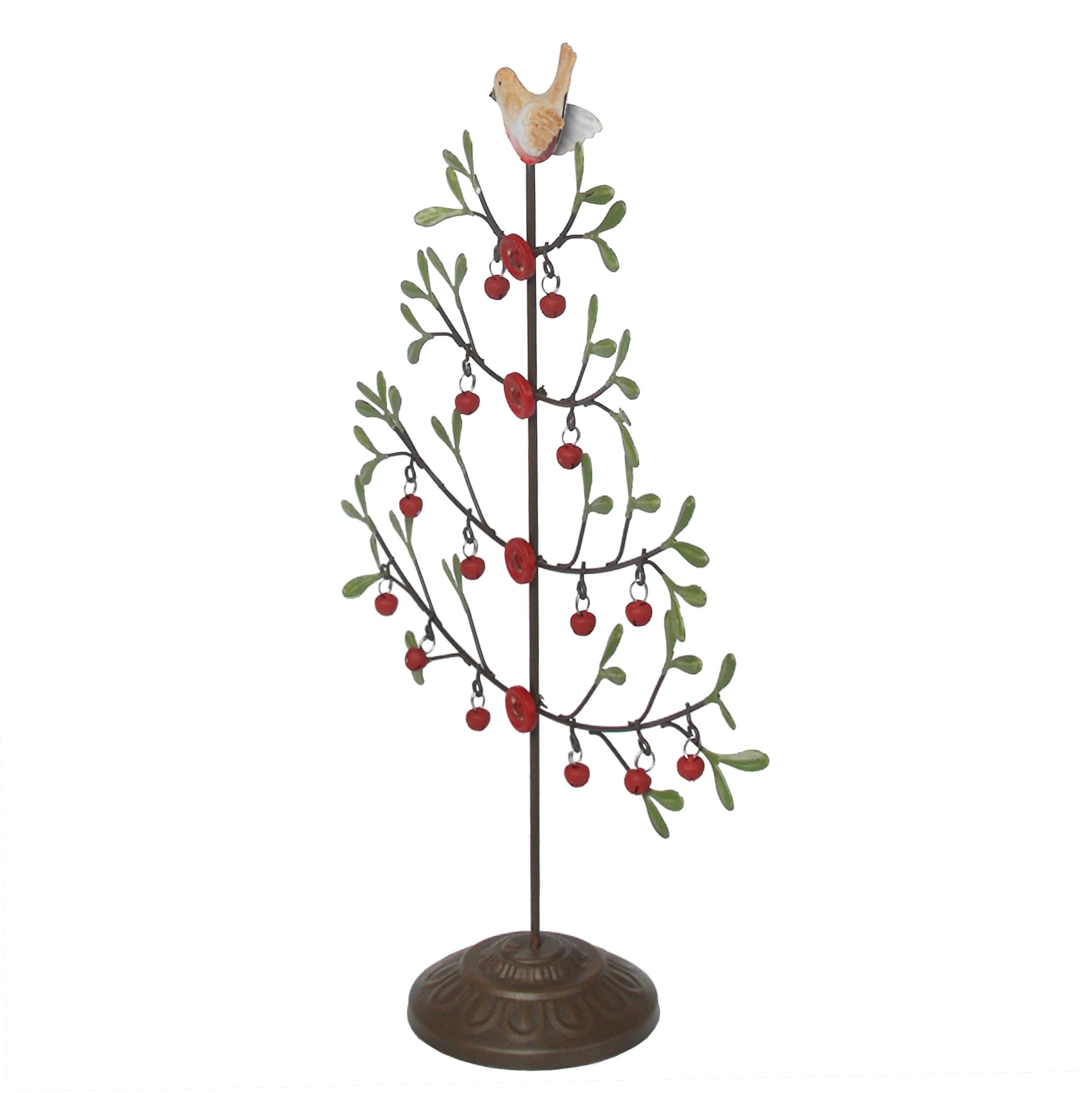 Metal Tabletop Christmas Tree: Mistletoe Christmas Tree With Robin