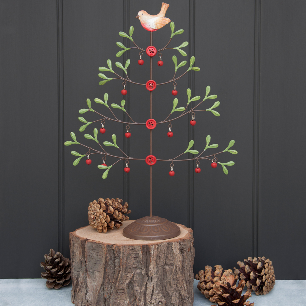 Mistletoe Christmas Tree With Robin