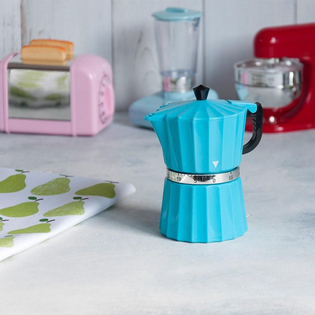 Blue coffee pot kitchen timer