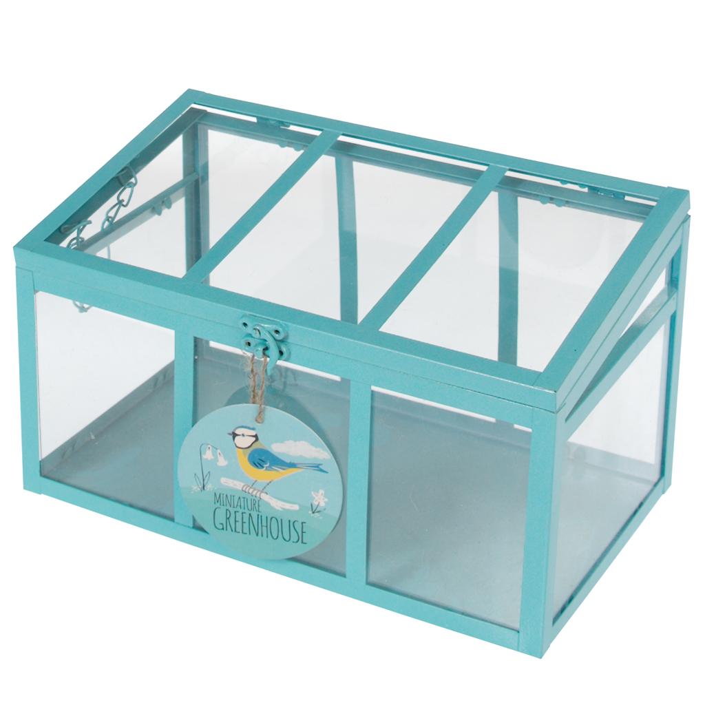 mini serre d 39 int rieur bleu avec 3 faces dotcomgiftshop. Black Bedroom Furniture Sets. Home Design Ideas