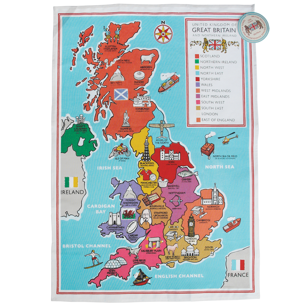 Regional Map Of France In English.Regional British School Map Tea Towel