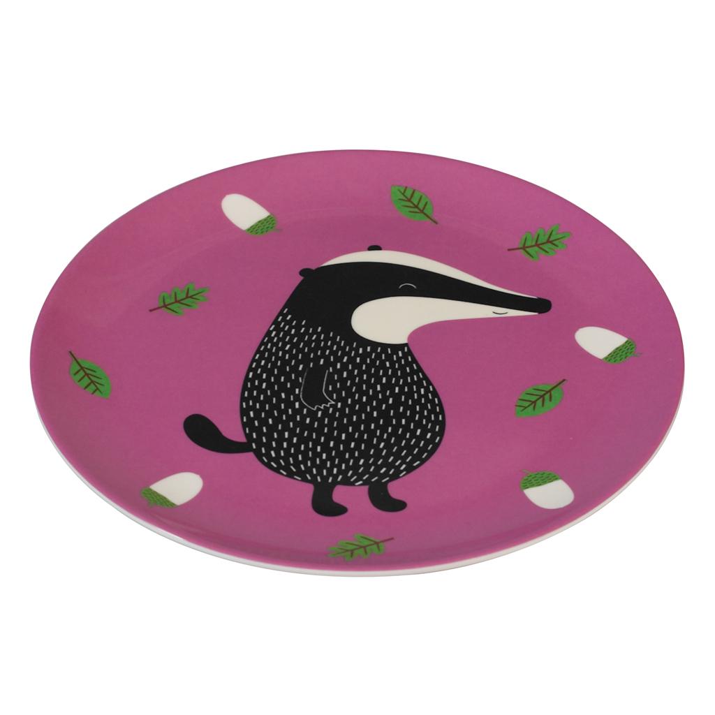 Purple Melamine Plate Mr Badger · Childrens Animal Melamine Tableware  sc 1 st  Dotcomgiftshop & Mr Badger Melamine Plate | Rex London (dotcomgiftshop)