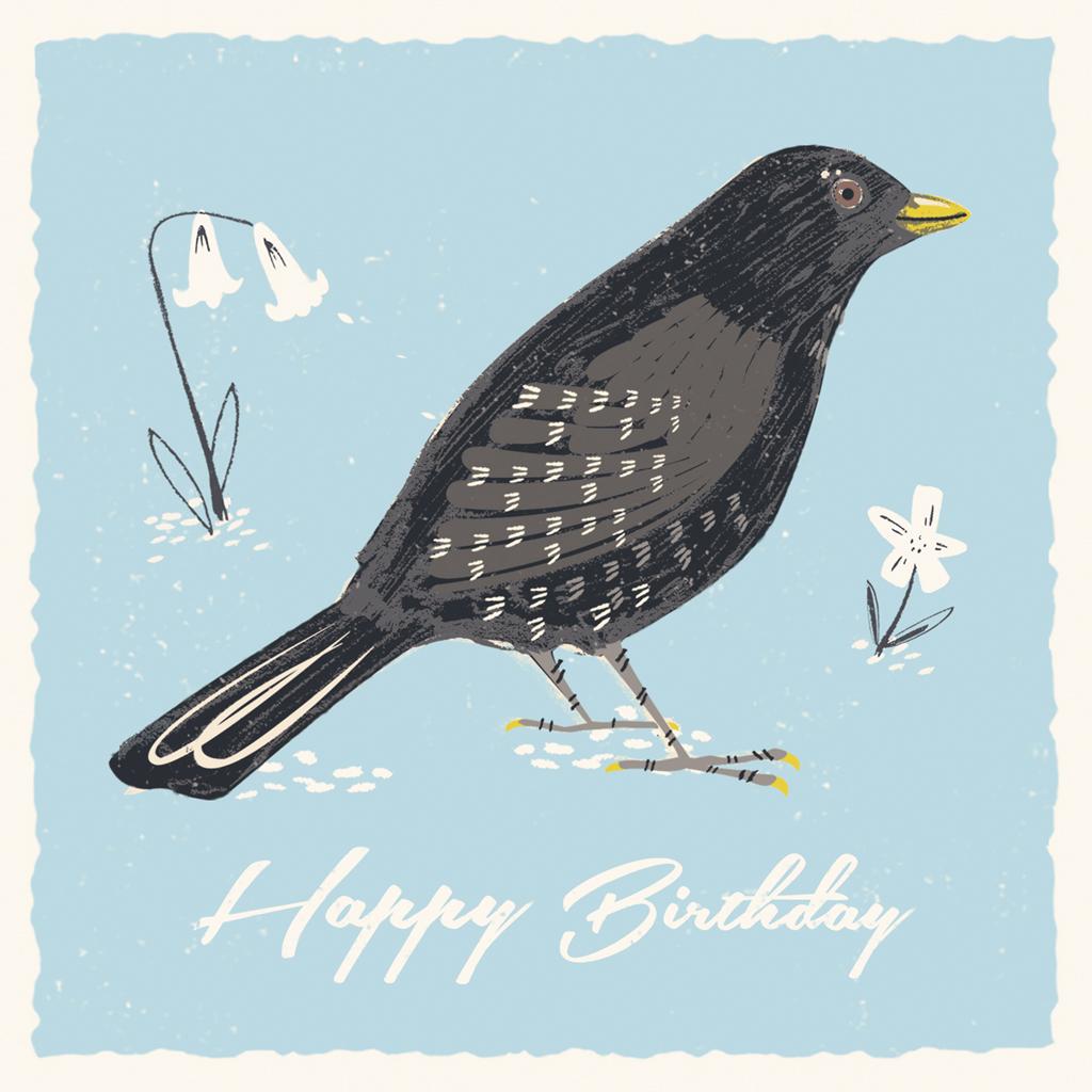 Blackbird birthday card dotcomgiftshop for Blackbird designs english garden