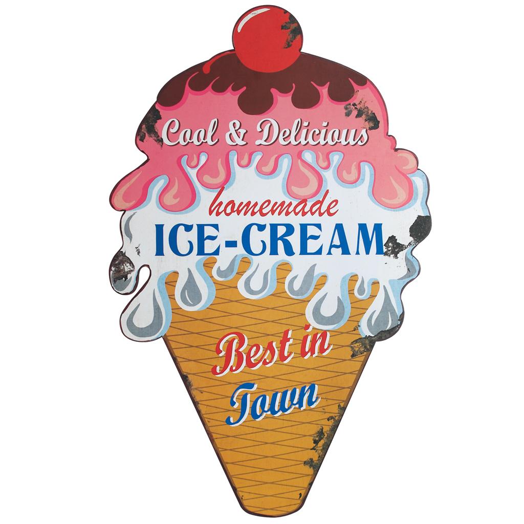 homemade ice cream metal sign
