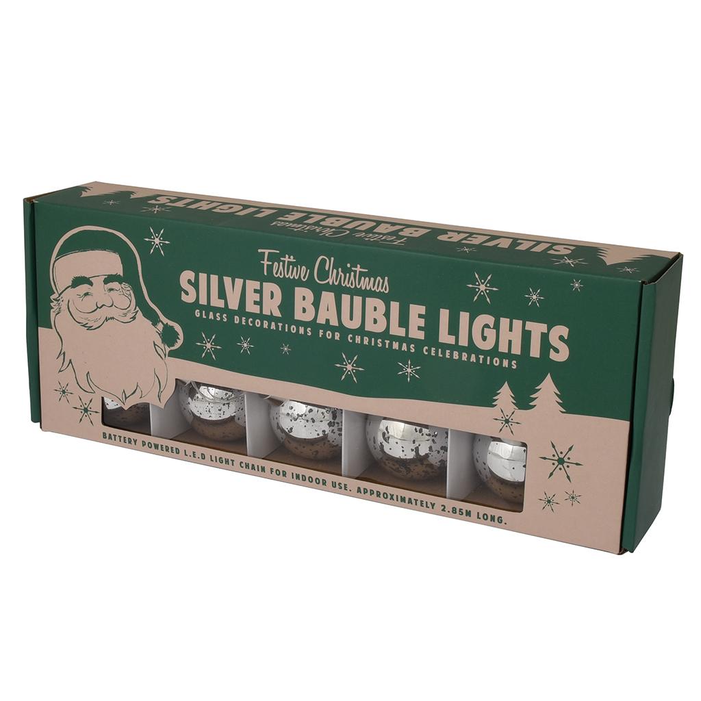 Ten Large Antique Style Silver Led Baubles | Rex London (dotcomgiftshop)