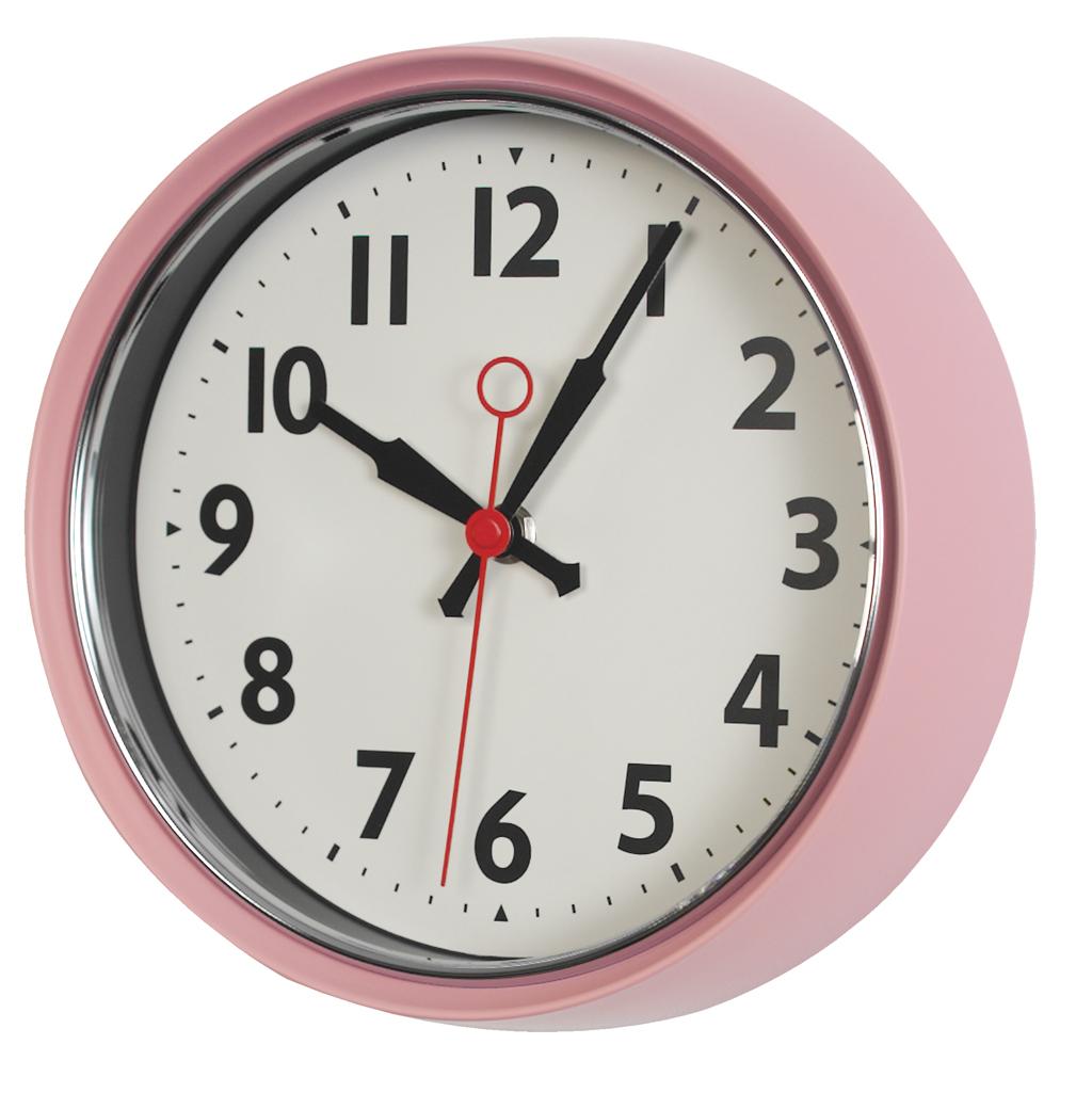 's pink metal wall clock  dotcomgiftshop - retro pink metal wall clock · 's pink metal wall clock