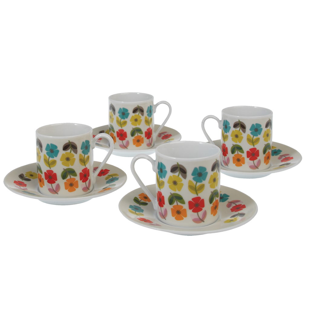 Set Of 4 Mid Century Poppy Espresso Cups And Saucers | Rex London ...