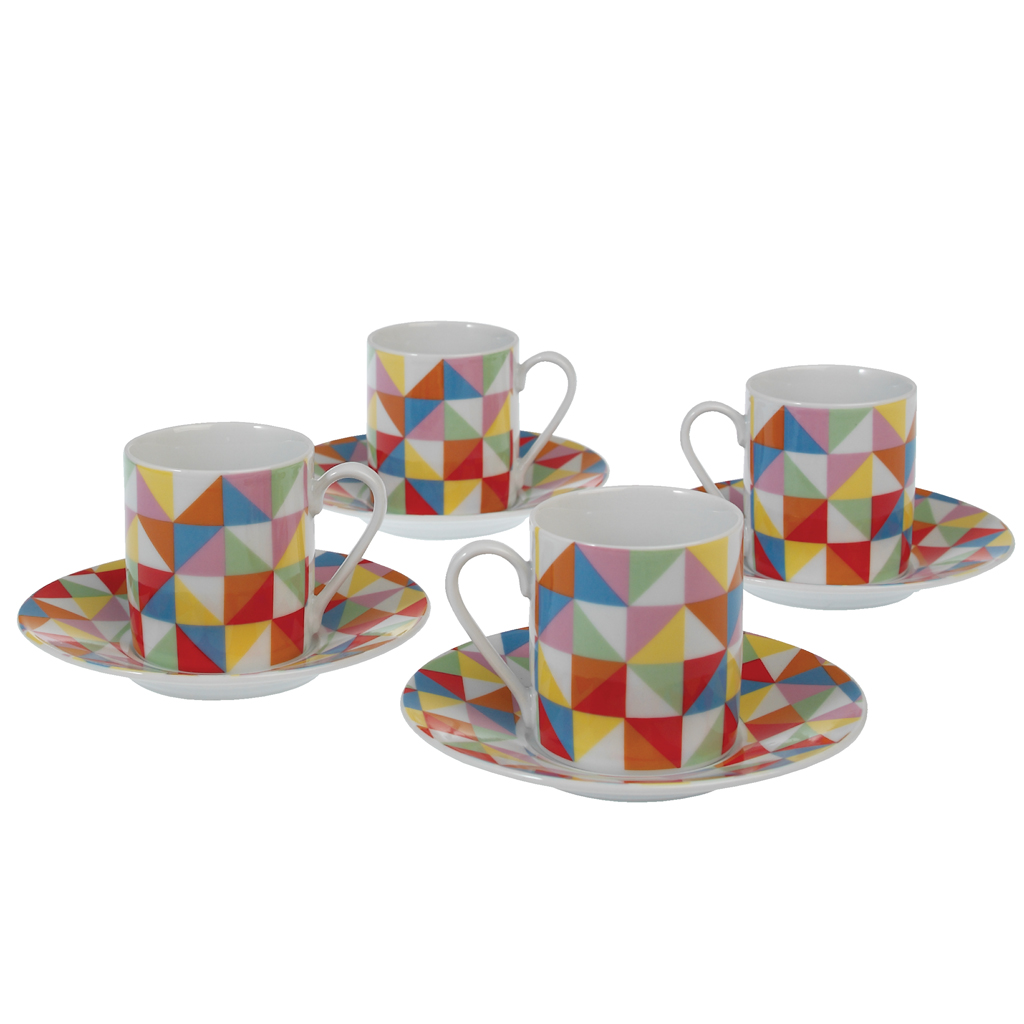 set of  multicolour geometric espresso cups and saucers  - set of  multicolour geometric espresso cups and saucers  dotcomgiftshop