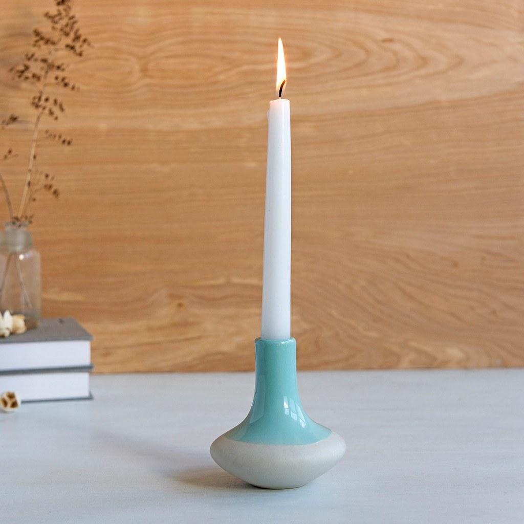 Aquamarine dipped candle holder