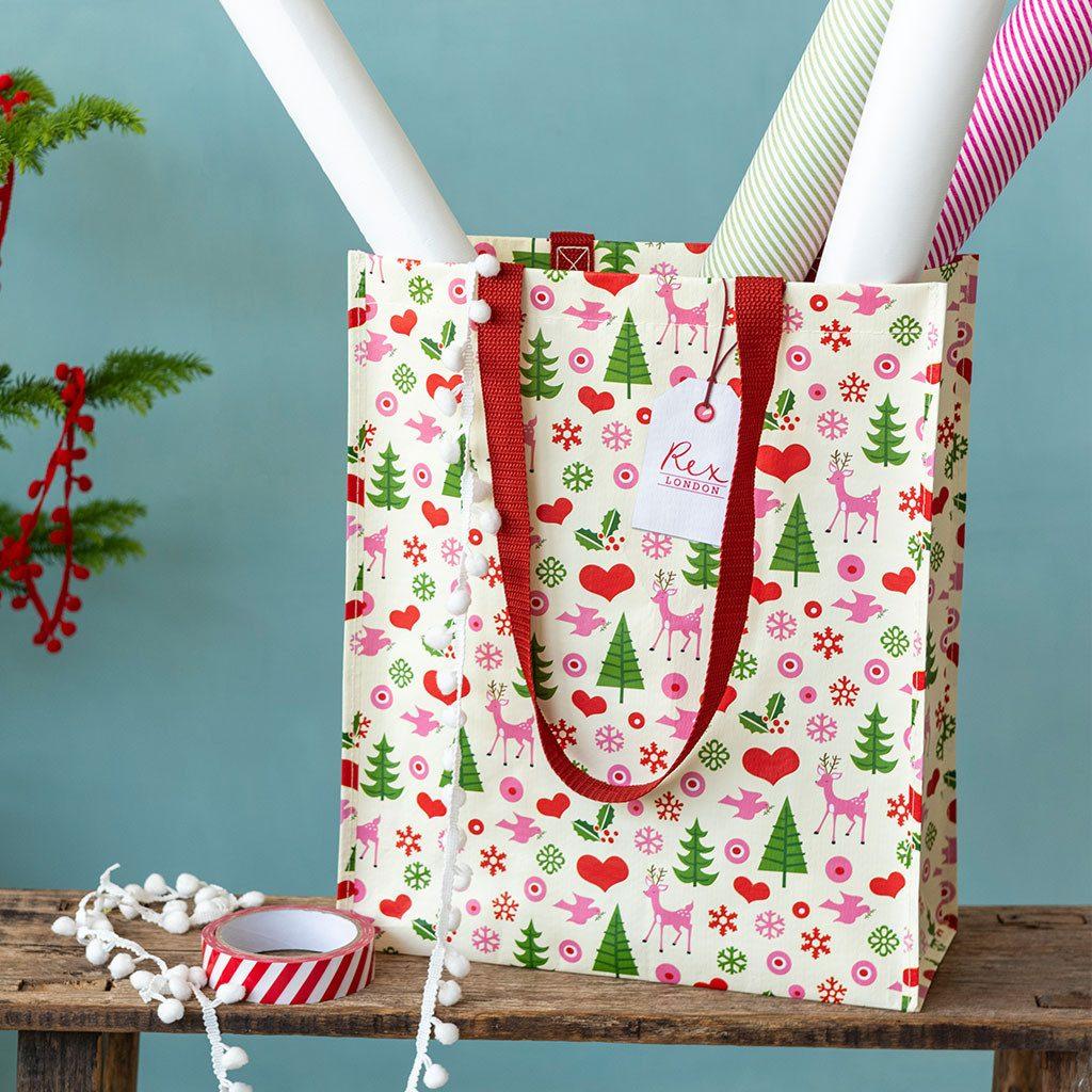 Christmas recycled shopping bag