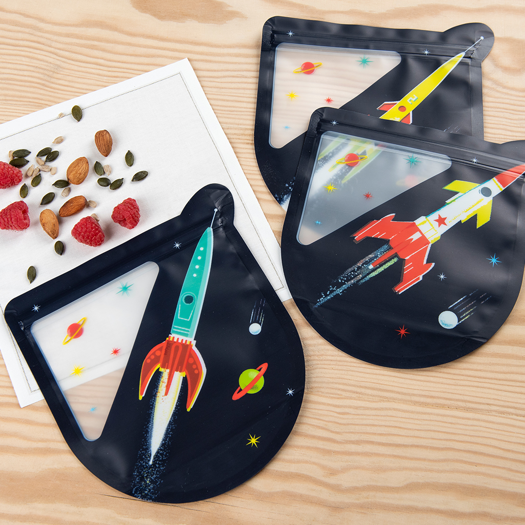 Rex London SPACE AGE REUSABLE SNACK BAGS SET OF 3