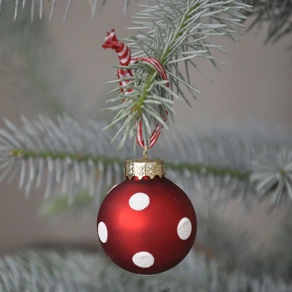 SET 6 MINI RED GLASS BAUBLES VINTAGE CHRISTMAS HANGING DECORATION