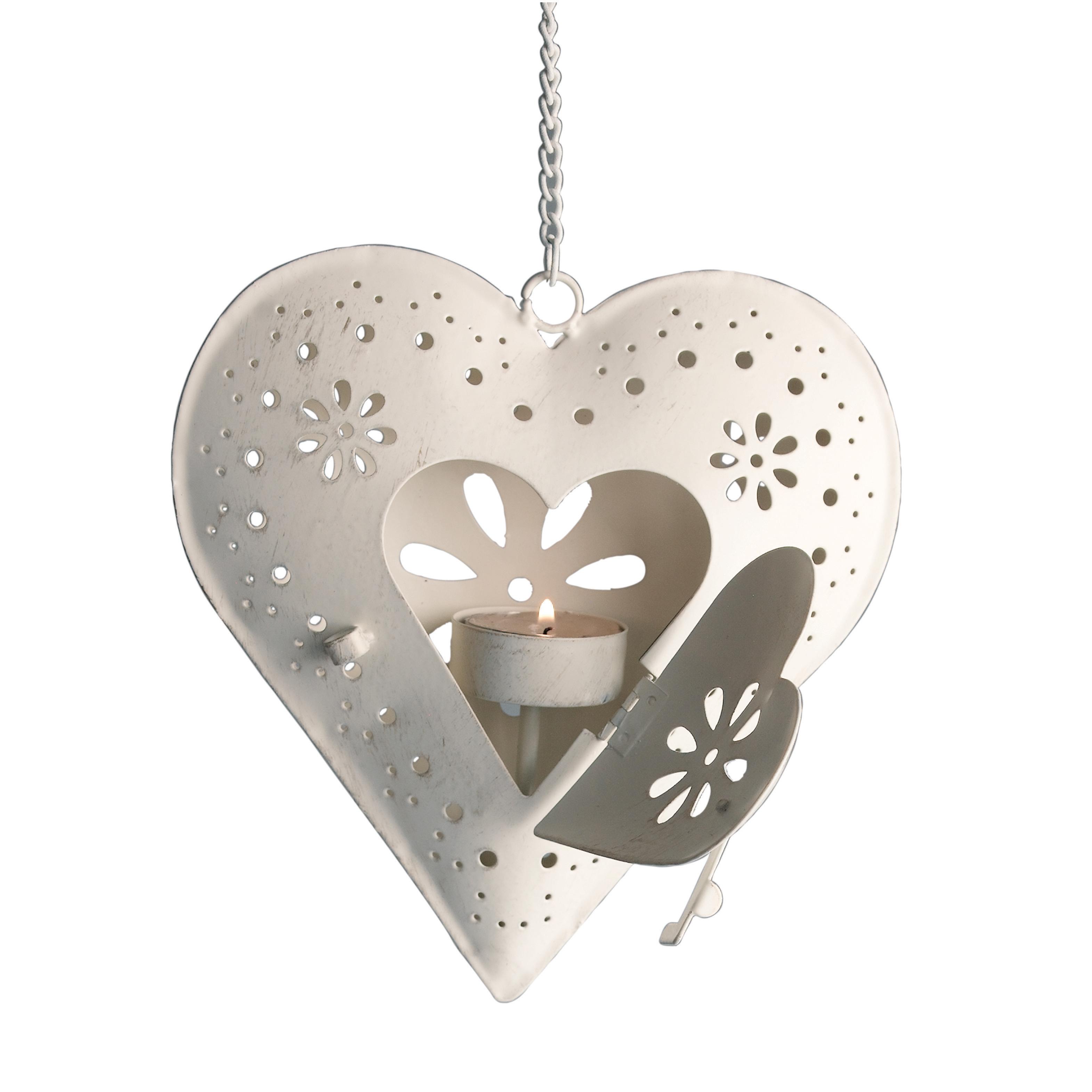 ANTIQUE CREAM HANGING HEART TEA LIGHT CANDLE HOLDER WEDDING DECOR