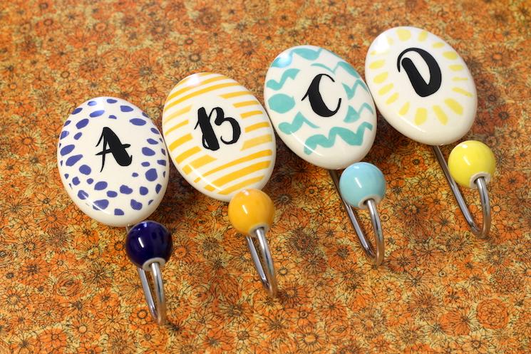 ceramic alphabet letter coat hooks