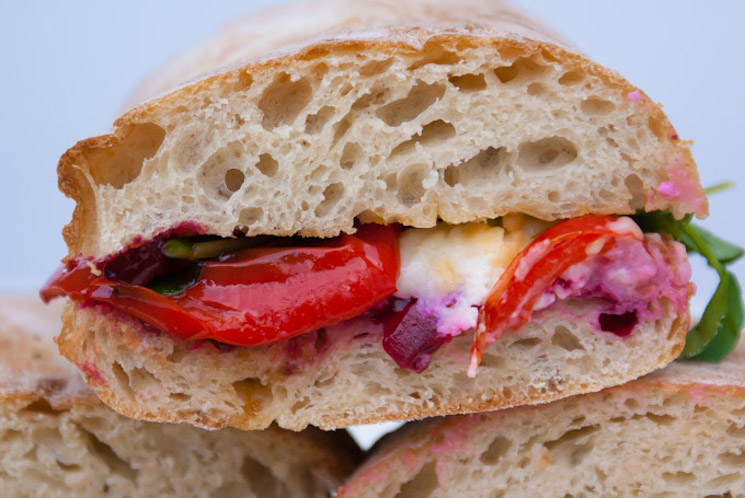 beetroot and goats cheese ciabatta