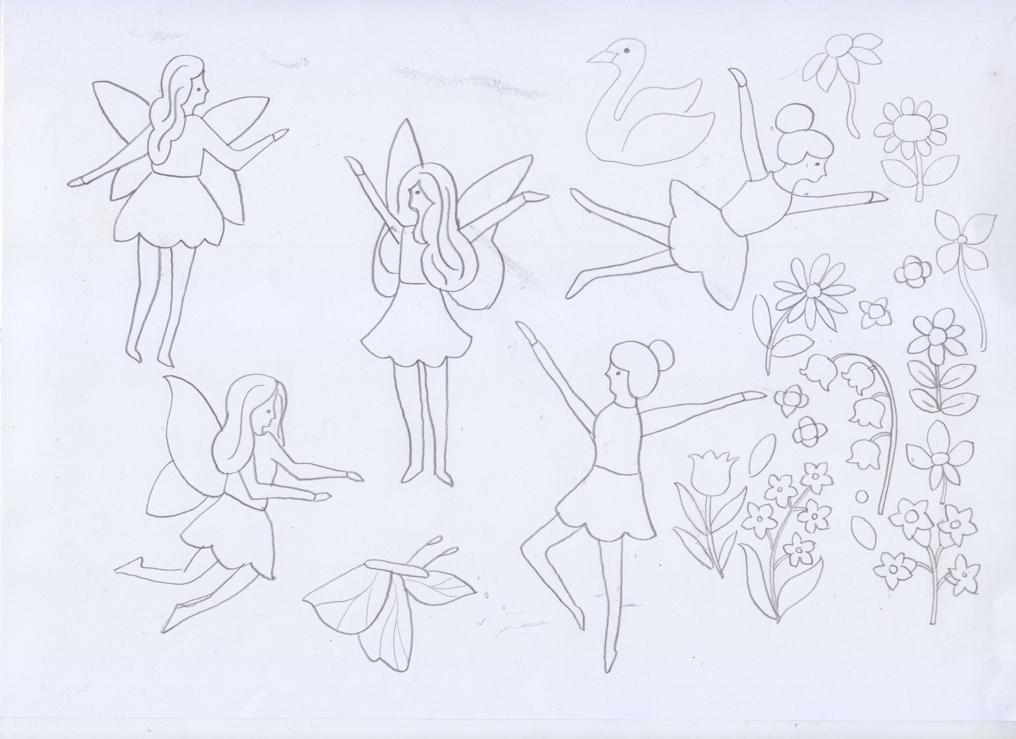 Fairies in the Garden early sketch