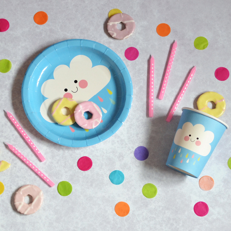 Happy Cloud paper plate and cup