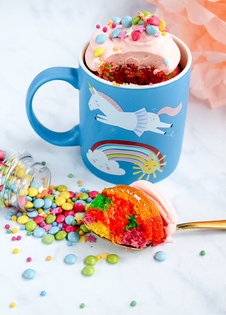 Magical Unicorn mug cake