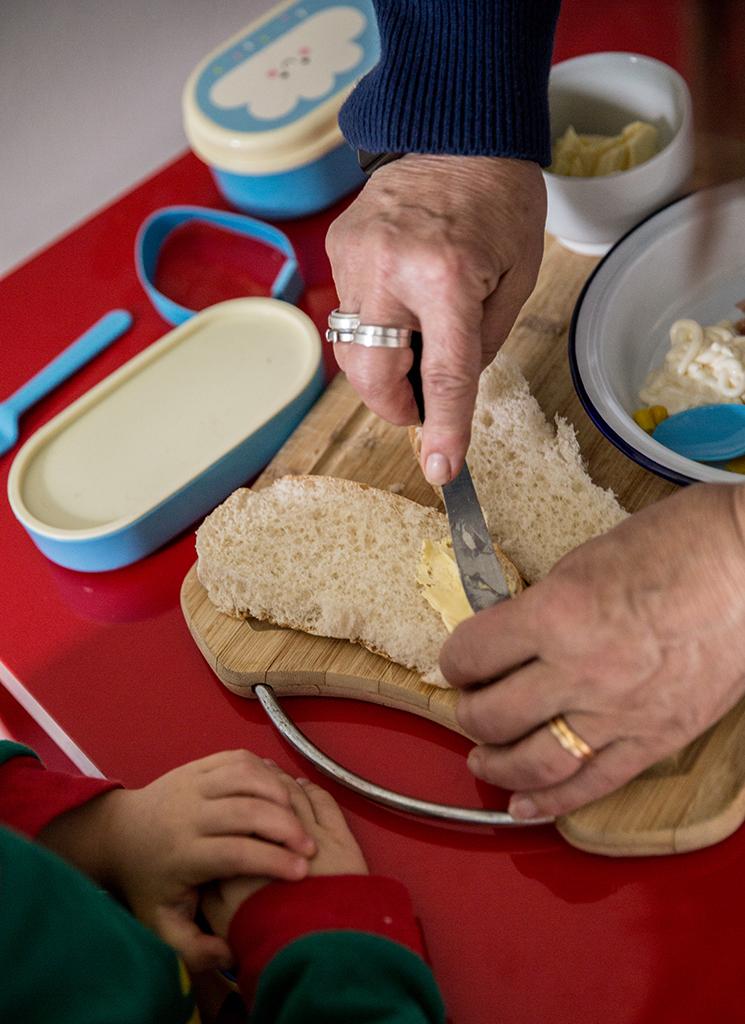 Preparing lunch with grandkids