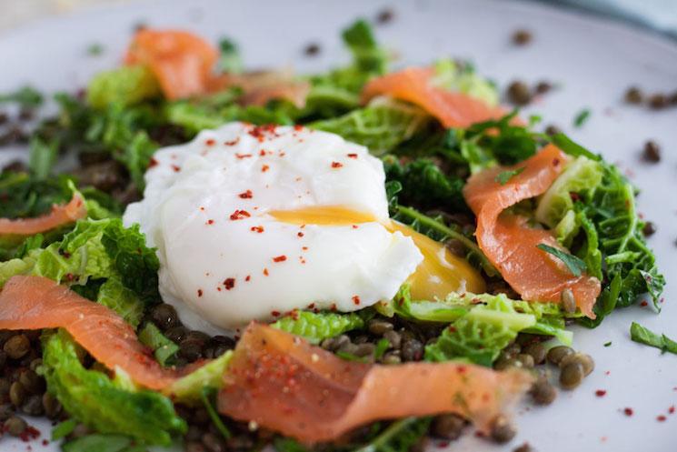 smoked salmon, lentil and poached egg salad