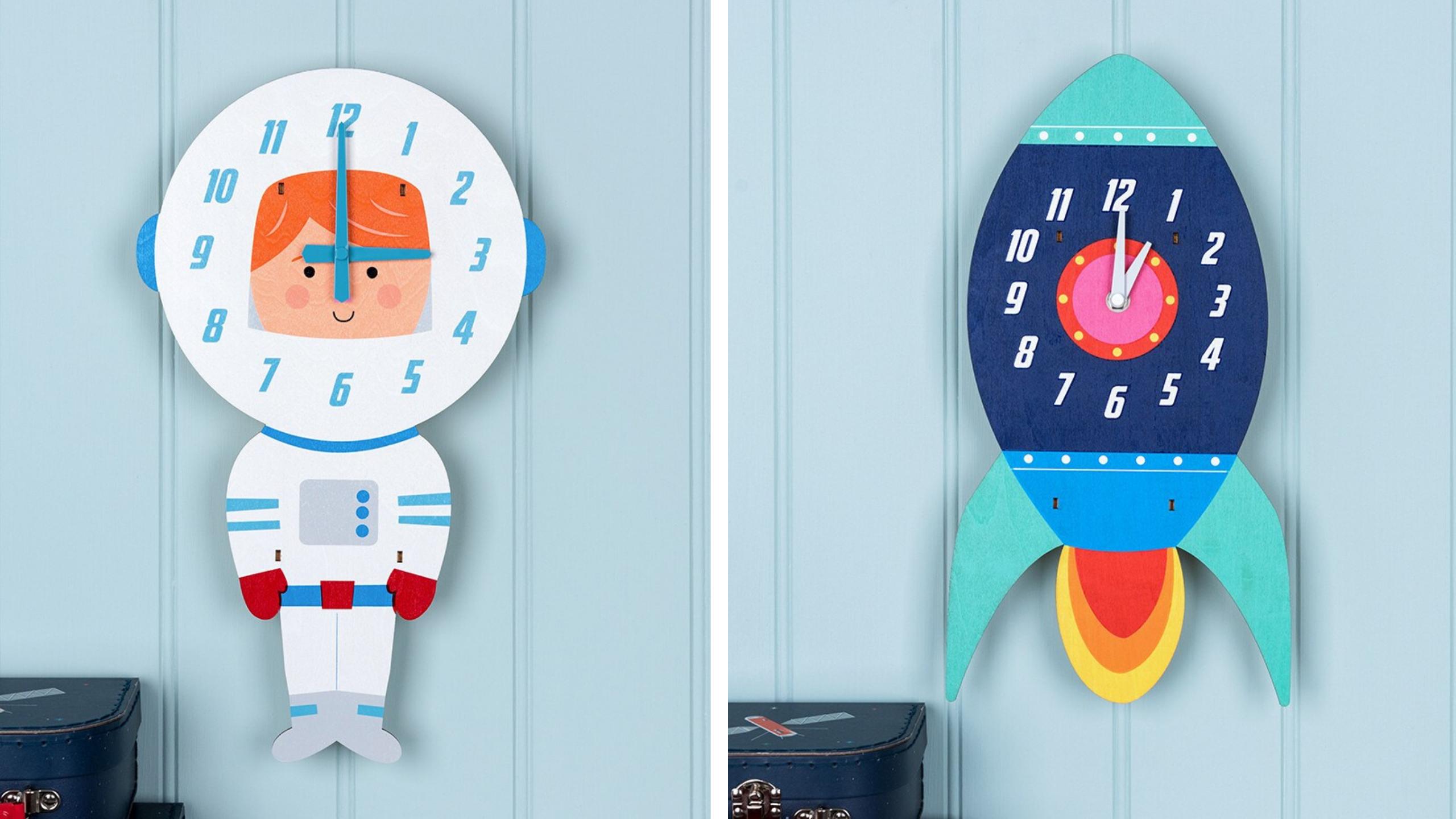 space bedroom-wall-clocks