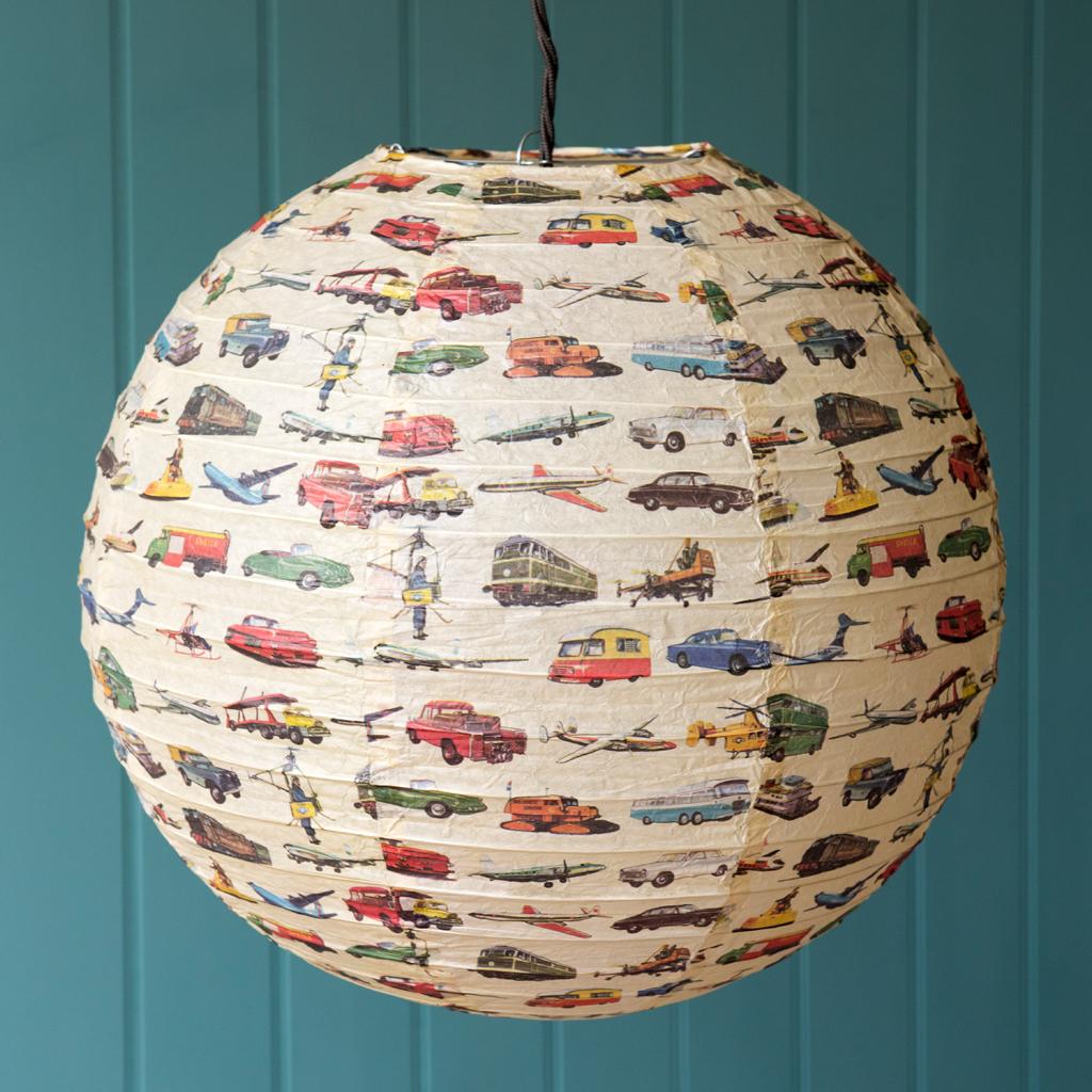 Vintage transport paper lampshade rex london dotcomgiftshop vintage transport paper lamp shade audiocablefo