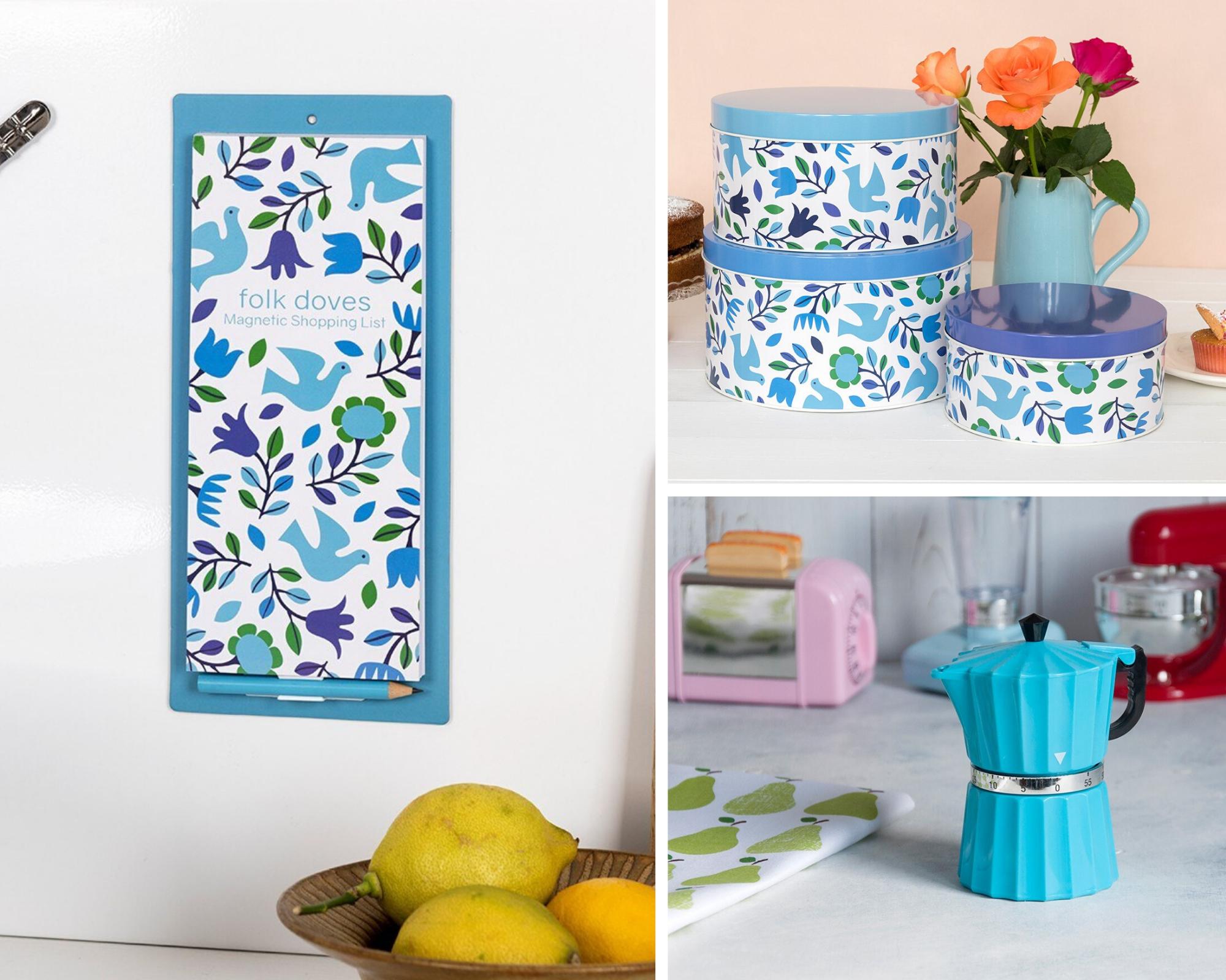 Folk Doves magnetic shopping list, cake tins, retro blue coffee pot timer