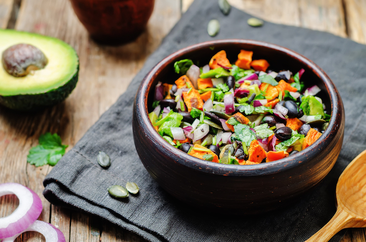 black bean, avocado and sweet potato salad