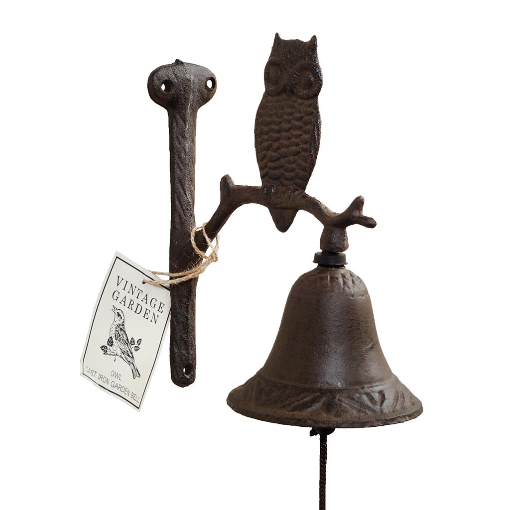 Cast Iron Owl Garden Bell dotcomgiftshop
