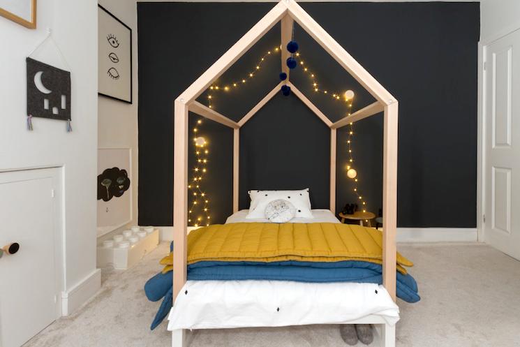 fairy lights on bed