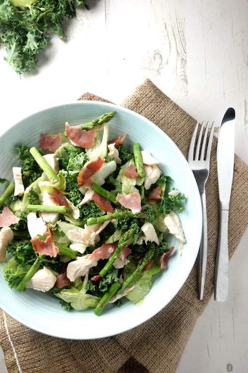 chicken and bacon salad with grilled asparagus