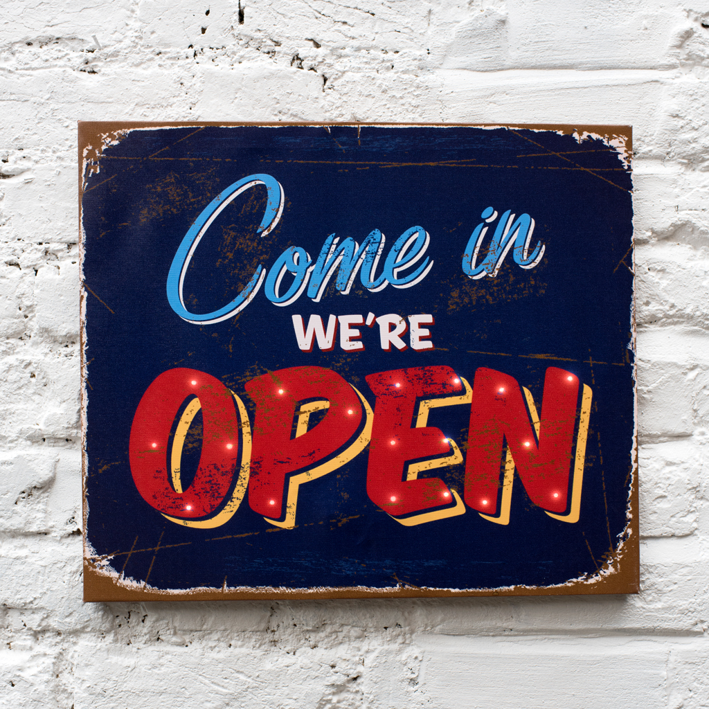 Come In We Re Open Light Up Sign Rex London Dotcomgiftshop
