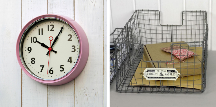 wall clock and wire basket from dotcomgiftshop
