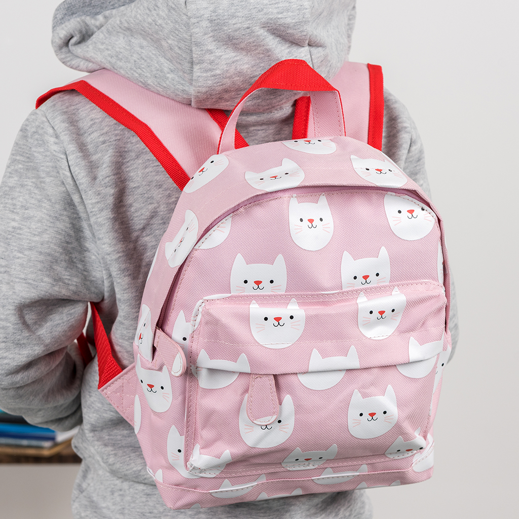 4452fdff5a8 Cookie the Cat children's backpack with front pocket and metal zips