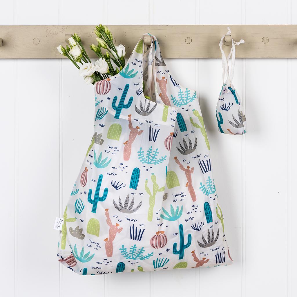 Cactus Print Foldaway Ping Tote Bag