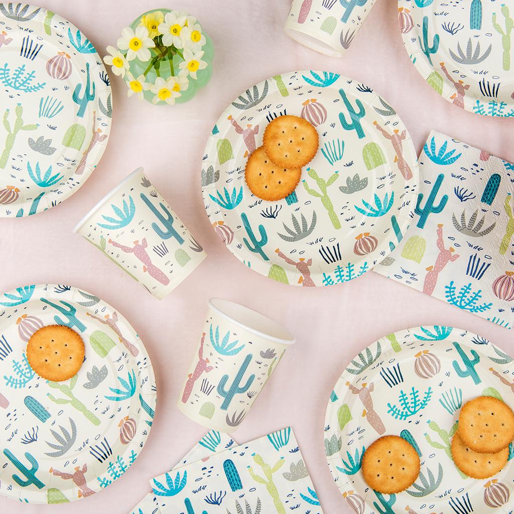 Cactus Print Party Tableware  sc 1 st  Dotcomgiftshop & Desert In Bloom Paper Plates (pack Of 8) | Rex London (dotcomgiftshop)