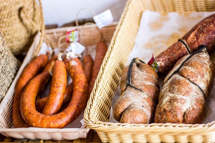 continental food in wicker baskets